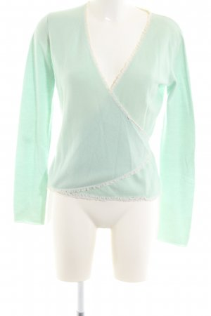 FTC Cashmere Knitted Wrap Cardigan turquoise-natural white business style