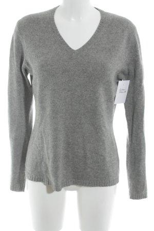 FTC Cashmere V-Ausschnitt-Pullover hellgrau Casual-Look