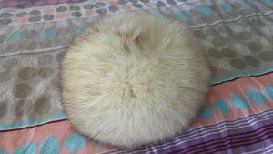 Sciarpa con cappuccio bianco-grigio chiaro Pelliccia