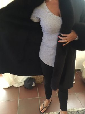 Abrigo de piel negro