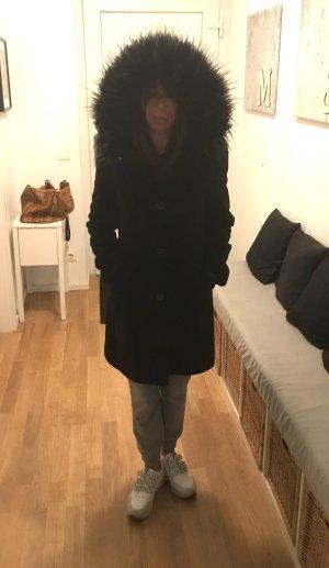 Fuchs Schmitt Manteau en laine noir-gris foncé cachemire