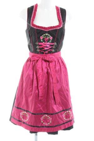 Fuchs Trachtenmoden Dirndl noir-rose motif de fleur style classique