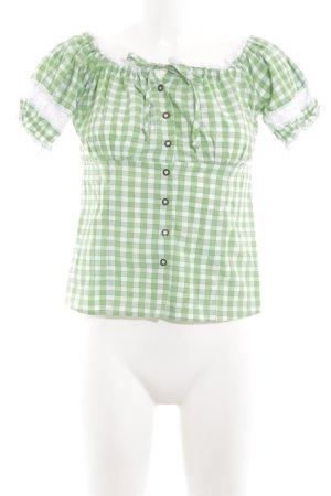Fuchs Trachtenmoden Trachtenbluse grün-weiß Karomuster klassischer Stil