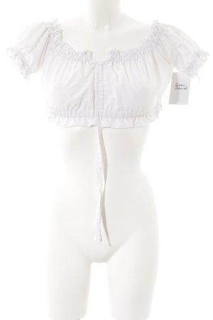 Fuchs Trachtenmoden Blouse bavaroise blanc motif tricoté lâche