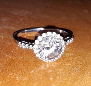 Funkelnder Diamonique Ring sehr guter Zustand, Gr. 19, 925 Silber