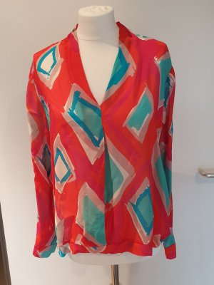 Funky Staff Transparante blouse rood-turkoois