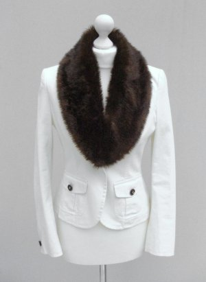 Fur, Blazer, Jeansjacke Jacke, weiß, Fellkragen von ESPRIT Gr. 36, Fell, Blogger