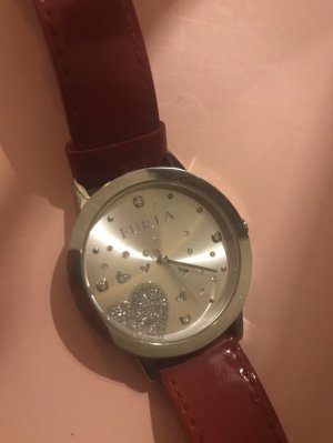 Furla Armbanduhr Leder Lack Rot Premium Luxury Watch Silber