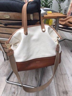 Furla Beutel-Handtasche, weiß/braun, Leder