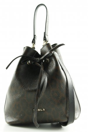 Furla Pouch Bag black-brown animal pattern business style