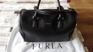 Furla Bowling Bag Handtasche echt Leder schwarz pink gefüttert