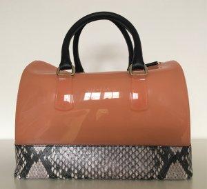 Furla Candy Bag Peach Snakeskin Damen Tasche Pfirsich Schlangen Print Leder