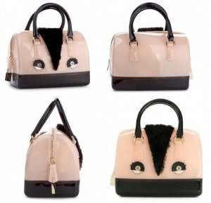 Furla Bowling Bag black-pink synthetic material