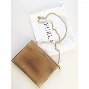 FURLA Crossbody Bag Gold schwarz mit Kette Umhängetasche Mini Tasche