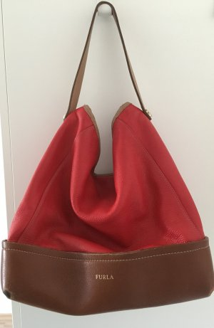 Furla Handtasche, Beuteltasche, Leder, rot