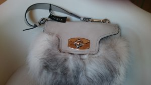 Furla Handtasche in Grau mit Fell