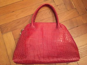 Furla Handtasche Krokooptik rot neuwertig