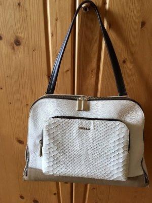 FURLA Handtasche Schultertasche Ledertasche Frida - TOP - beige/weiß