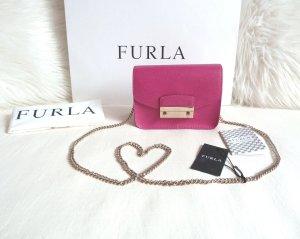 Furla Julia Mini Pink Gloss Gold Kette Crossbody Bag Neu
