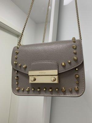 Furla Julia Sabbia Metropolis Nude Grau Gold Mini Crossbody Bag Studded Nieten Tasche
