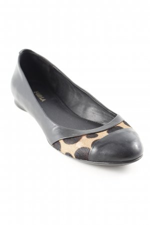 Furla Patent Leather Ballerinas black-light brown animal pattern casual look