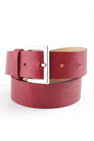 Furla Cinturón de cuero carmín estampado de animales estilo clásico