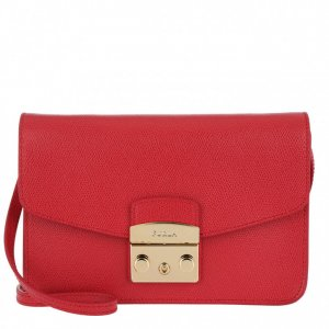 Furla Pochette brick red leather