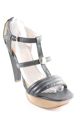 Furla Sandalo alto con plateau nero-marrone chiaro elegante