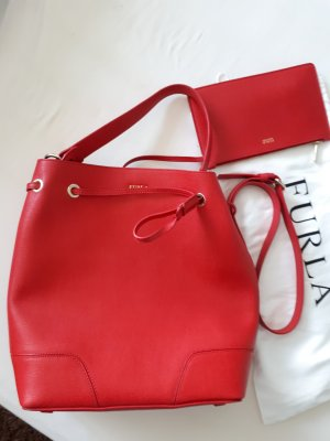 Furla Pouch Bag neon red leather