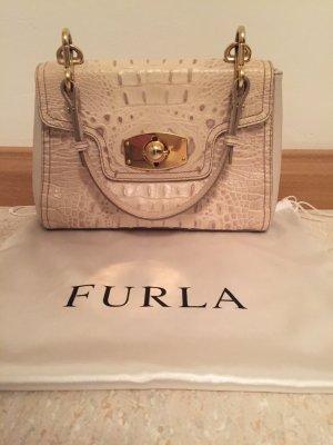 FURLA Tasche mit Original Staubbeutel, helles strukturiertes Leder mit Patina