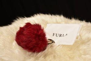Furla Key Chain red-dark red fur