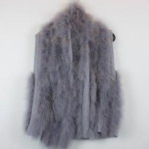 Gilet tricoté gris-bleu pâle acrylique