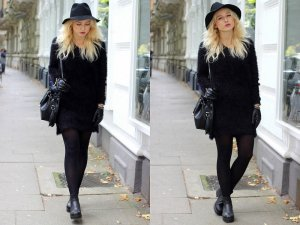 Fussel Blogger Kleid schwarz cozy Pulloverkleid