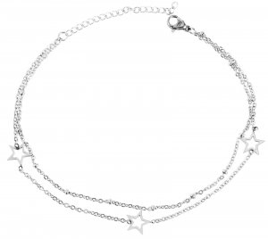 Anklet silver-colored stainless steel