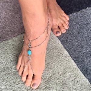Enkelband korenblauw-zilver