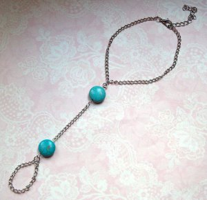 Anklet silver-colored-turquoise metal