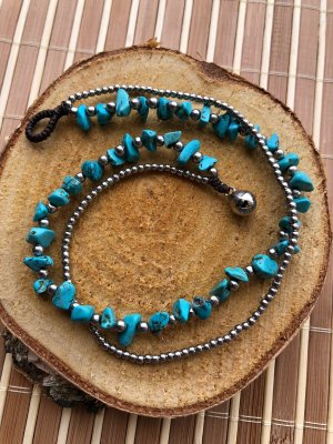 Anklet turquoise-silver-colored