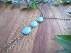 Anklet turquoise-gold-colored