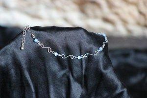 Enkelband zilver-blauw