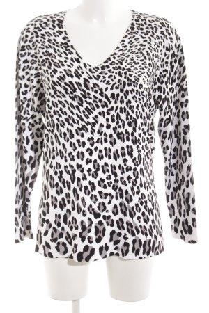 Futura Moda T-shirt col en V blanc-noir imprimé allover