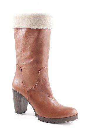 G.K.M. High Heel Boots brown-cream casual look