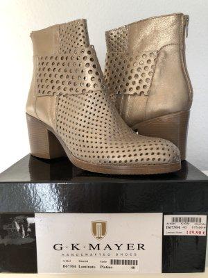 G • K • Mayer Schuhe Stiefeletten - Leder Gold Gr. 40 NEU