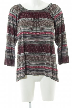 G!na Langarm-Bluse grafisches Muster Casual-Look