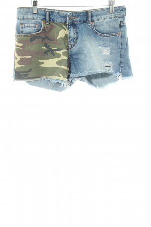 g perfect jeans Shorts blau-khaki Camouflagemuster Casual-Look