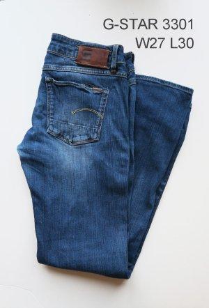 G-Star 3301 W27 L30 blaue Jeans grader Schnitt