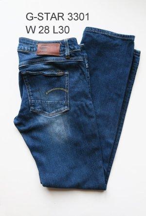 G-Star 3301 W28 L30 blaue Jeans grader Schnitt