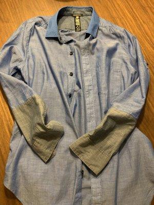 G-Star Raw Camisa de manga corta azul celeste-gris oscuro