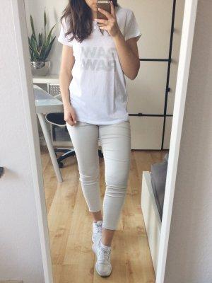 G-STAR Basic T-Shirt Schriftzug weiß grau Gr. XS