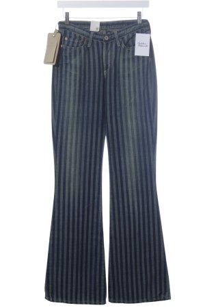 G-Star Boot Cut Jeans dunkelblau-graugrün Streifenmuster Bleached-Optik