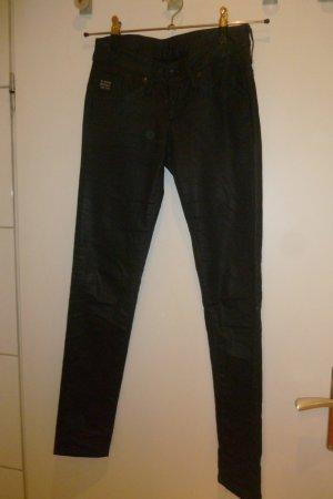 G-Star: Coole, topaktuelle beschichtete schwarze skinny Hose (Größe 26/32)